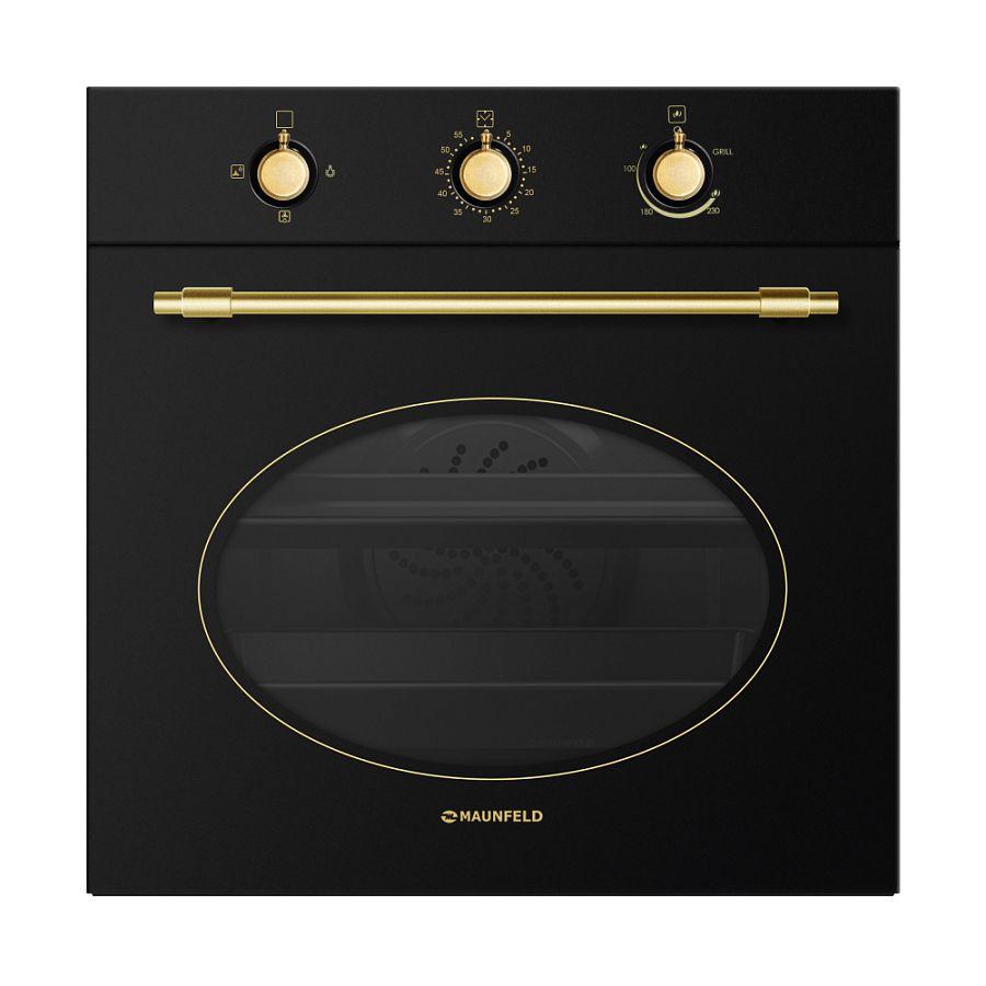 Газовый духовой шкаф Maunfeld MGOGG 673RBG TM (черное стекло+золото) от Ravta