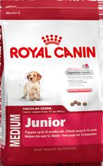 Корм Royal Canin Medium Junior для щенков средних пород 4кгПовседневные корма<br><br><br>Артикул: 10624<br>Бренд: Royal Canin<br>Вид: Сухие<br>Высота упаковки (мм): 0,44<br>Длина упаковки (мм): 0,25<br>Ширина упаковки (мм): 0,1<br>Вес брутто (кг): 4<br>Страна-изготовитель: Россия<br>Вес упаковки (кг): 4<br>Размер/порода: Средние<br>Для кого: Собаки