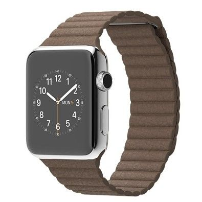 Умные часы Apple Watch 42mm Stainless Steel Case with Light Brown Leather Loop - L (MJ422) от Ravta