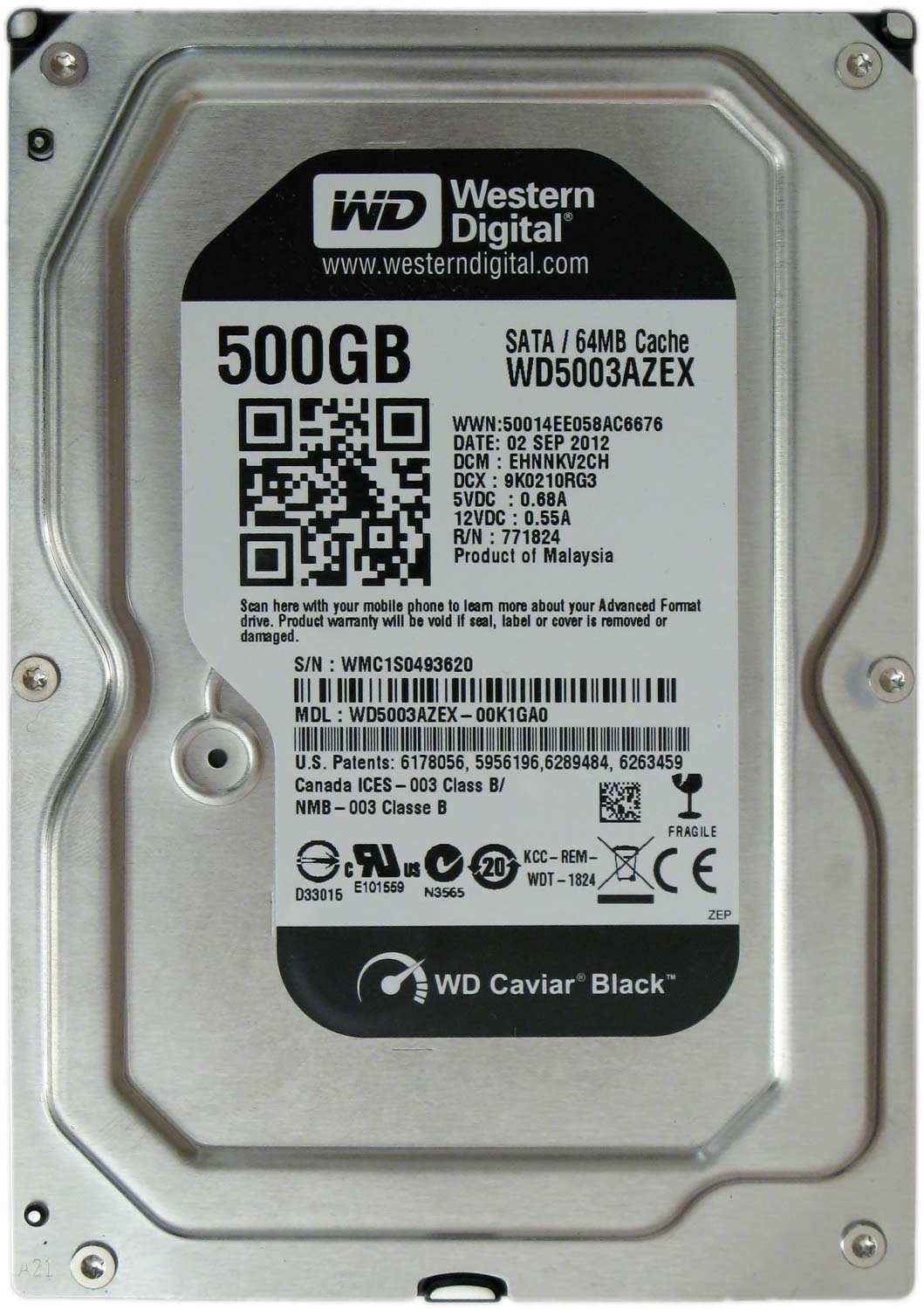 Жесткий диск WESTERN DIGITAL WD5003AZEX 500GB SATA 7200 RPM 6GB/S 64MB от Ravta