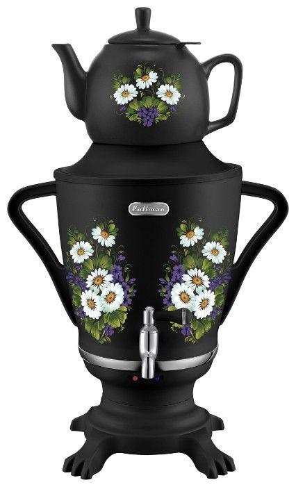 Самовар Pullman PL-1029B,1850-2300 Вт, полевые цветы, пластик. корпус, керам. заварник от Ravta