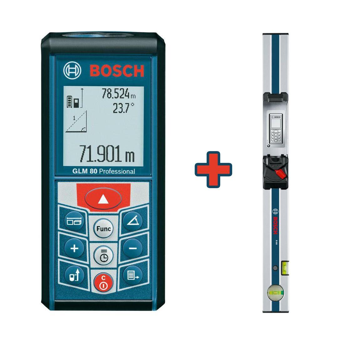 Дальномер лазерный BOSCH GLM 80 + уровень R60 (0,05-80м, точн.1.5мм/80м, 0,74 кг) от Ravta