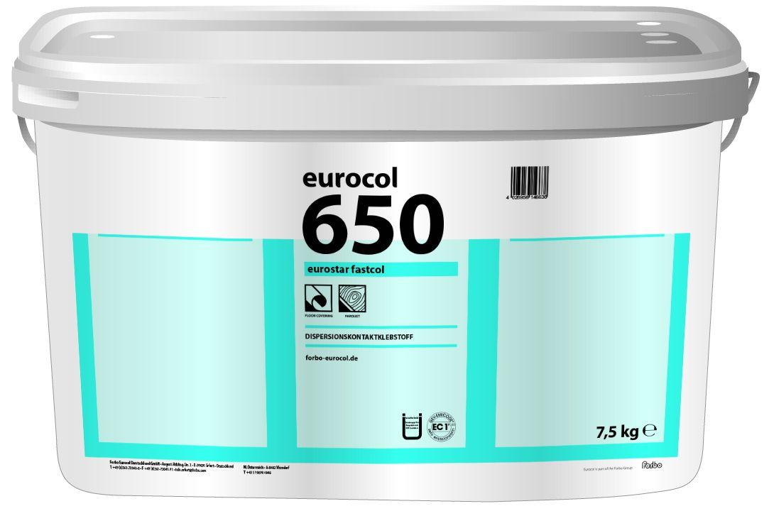 Дисперсионный контактный клей Eurocol Forbo 650 Eurostar Fastcol (7,5кг)Строительная химия<br><br><br>Бренд: Eurocol Forbo<br>Страна-изготовитель: Россия