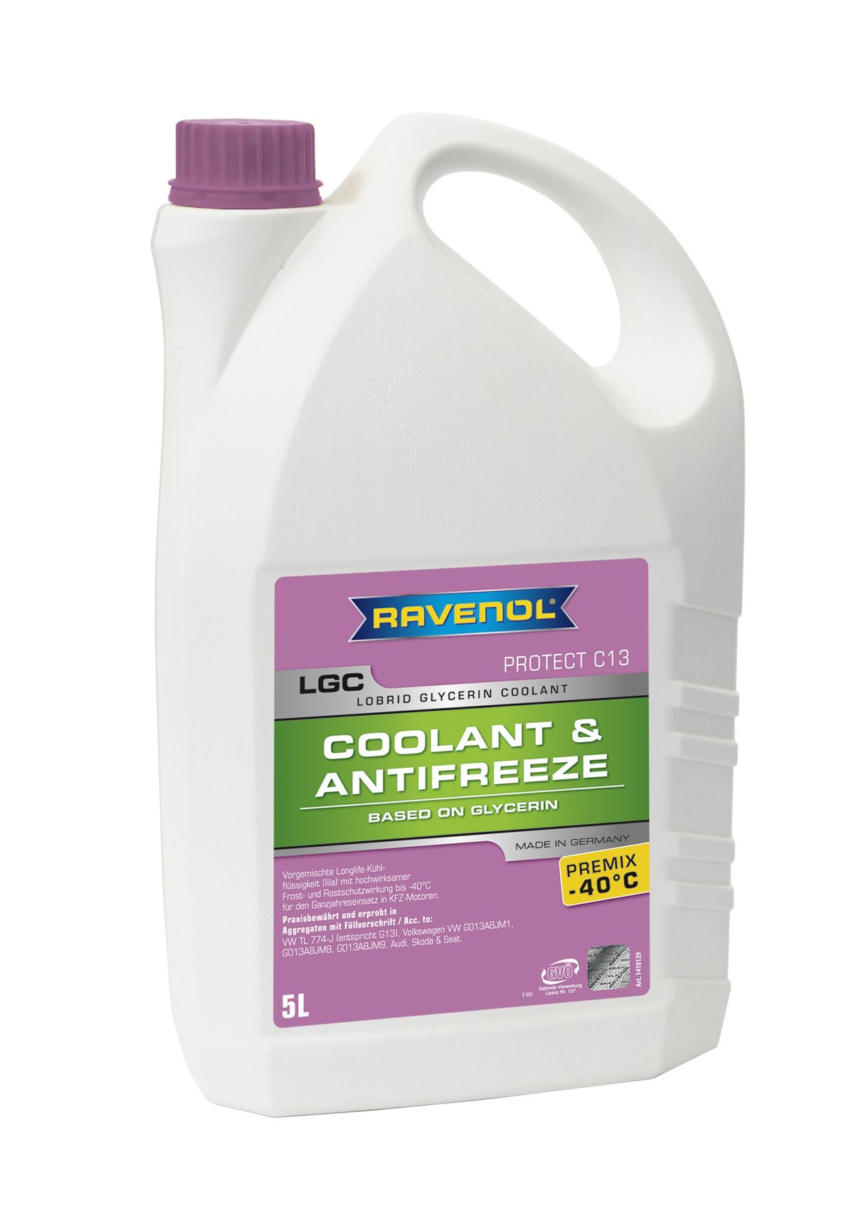Антифриз Ravenol лиловый LGC Lobrid Glycerin Coolant Premix -40° C13 ( 5 л) от Ravta