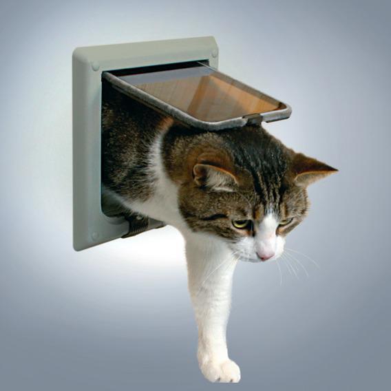 """Дверца TRIXIE для кошки серая, """"de Luxe"""" с 4 функциями 15,8*14,7 см от Ravta"""