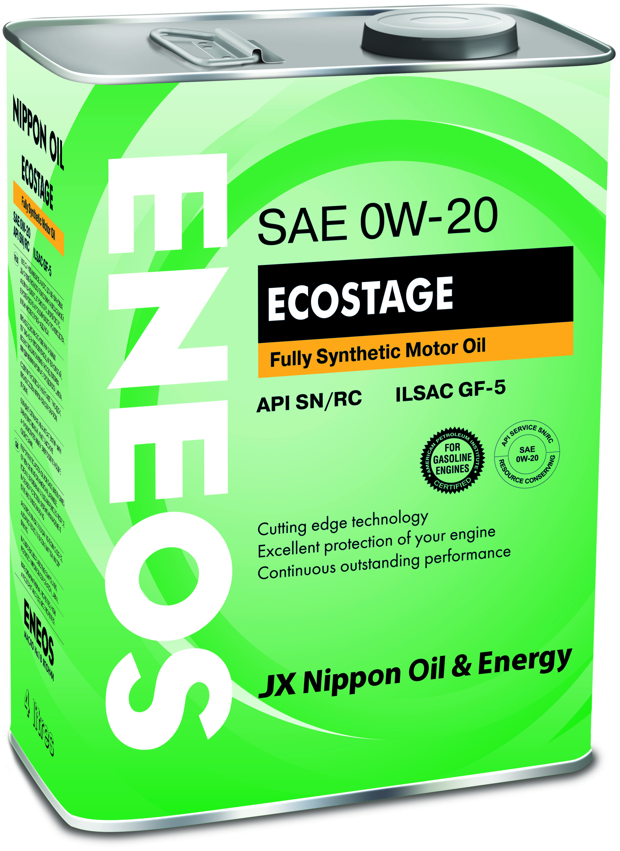 Масло ENEOS Ecostage 100% Synt. SN 0/20 (4л) от Ravta