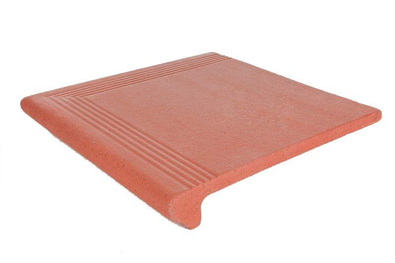 Керамическая плитка ступень с закруглением угловая Клинкер Grestejo Red красный 340*340 (шт.) от Ravta