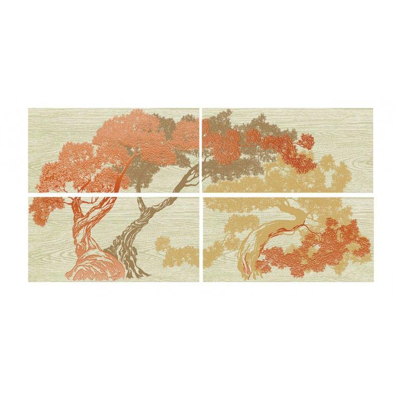 Керамическая плитка панно Azori Эстелла Бонсай бежевый 810*402 (шт.) от Ravta