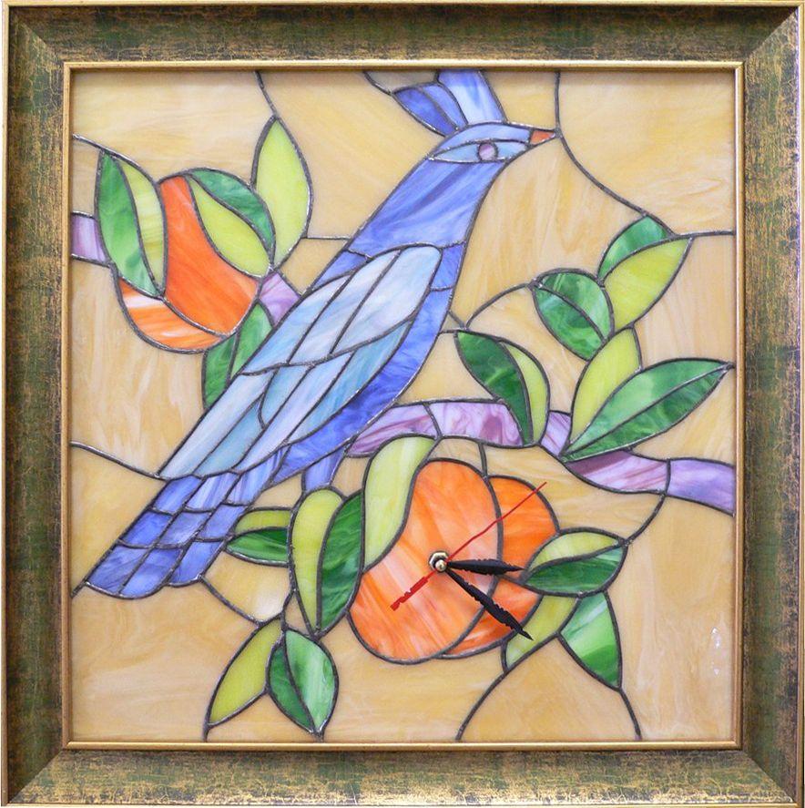 """Часы-мозаика """"Синяя птица"""" ручной работы 46х46см от Ravta"""
