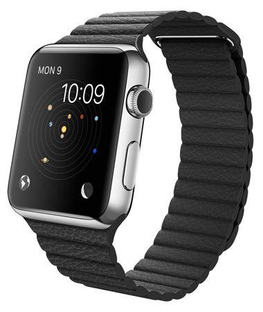 Умные часы Apple Watch 42mm Stainless Steel Case with Black Leather - M (MJYN2) от Ravta