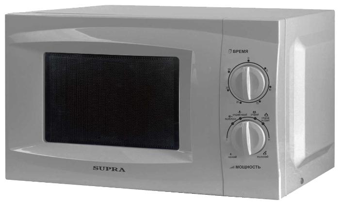 Микроволновая печь Supra MWS-1801MSМикроволновые печи<br><br><br>Артикул: MWS-1801MS<br>Бренд: Supra<br>Вес (кг): 10<br>Управление: механическое<br>Гриль: нет<br>Конвекция: нет<br>Гарантия производителя: да<br>Дисплей: нет<br>Глубина(см): 32<br>Ширина (см): 42<br>Высота (см): 26<br>Переключатели: поворотные<br>Внутренний объем (л): 18<br>Мощность микроволновки (Вт): 700<br>Нижний гриль: нет<br>Открывание дверцы: ручка<br>Цвет корпуса: серебристый