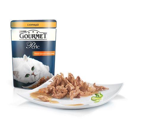 Gourmet Паучи в подливе с курицей для кошек (Gourmet Perl) 12222445 85грПовседневные корма<br><br><br>Артикул: 12222445<br>Бренд: Gourmet<br>Вид: Консервированные<br>Вес брутто (кг): 0,085<br>Мин. количество для заказа: 15<br>Страна-изготовитель: Франция<br>Вес упаковки (кг): 0,085<br>Ингредиенты: Кура<br>Для кого: Кошки