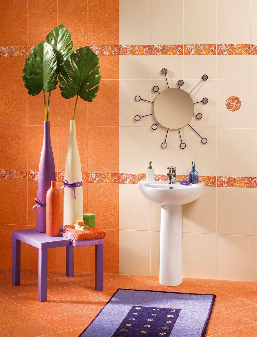 Керамическая плитка настенная Azori Фьюжн Коралл оранжевый 405*278 (шт.) от Ravta