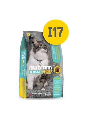Корм Nutram I17 Indoor Shedding Cat WB, для кошек, живущих в помещениях (белый пакет), 20кг от Ravta
