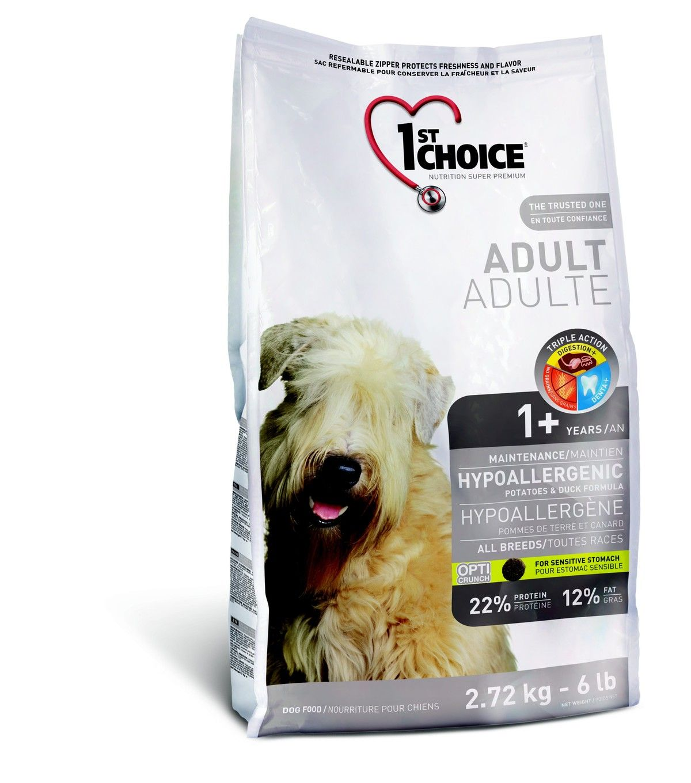 Корм 1st Choice  для собак гипоаллергенный, утка с картофелем,  2,72кгПовседневные корма<br><br><br>Артикул: 102.323<br>Бренд: 1ST CHOICE<br>Вид: Сухие<br>Вес брутто (кг): 2,72<br>Страна-изготовитель: Канада<br>Вес упаковки (кг): 2,72<br>Размер/порода: Все<br>Ингредиенты: Утка<br>Для кого: Собаки<br>Особая серия: Для аллергичных
