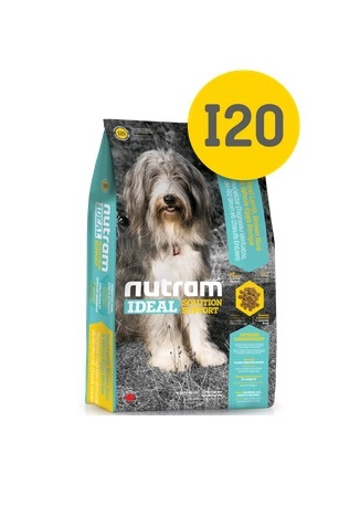 """Корм Nutram I20 Sensitive skin, coat and stomach Stomach Dog WB, для чувствительных собак """"здоровая кожа, шерсть и желудок""""(белый пакет), 20кг от Ravta"""