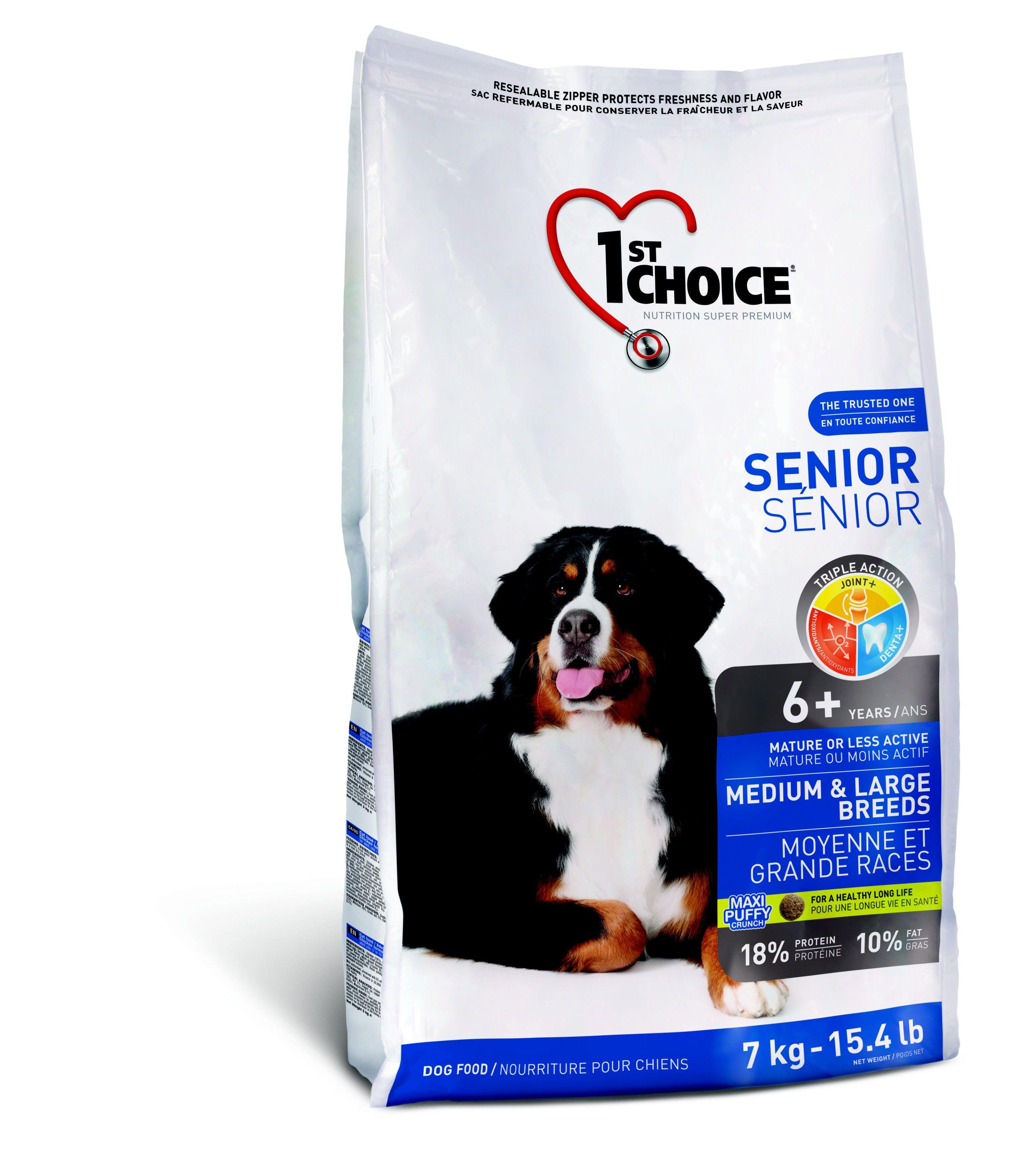 Корм 1st Choice  для пожилых собак средних и крупных пород, курица,  7кгПовседневные корма<br><br><br>Артикул: 102.329<br>Бренд: 1ST CHOICE<br>Вид: Сухие<br>Страна-изготовитель: Канада<br>Вес упаковки (кг): 7<br>Размер/порода: Средние и крупные<br>Ингредиенты: Кура<br>Для кого: Собаки