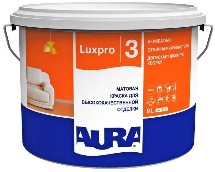 Краска Эскаро Аура Luxpro 3 водная моющаяся белая 9л от Ravta