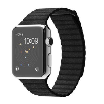 Умные часы Apple Watch 42mm Stainless Steel Case with Black Leather - L (MJYP2) от Ravta