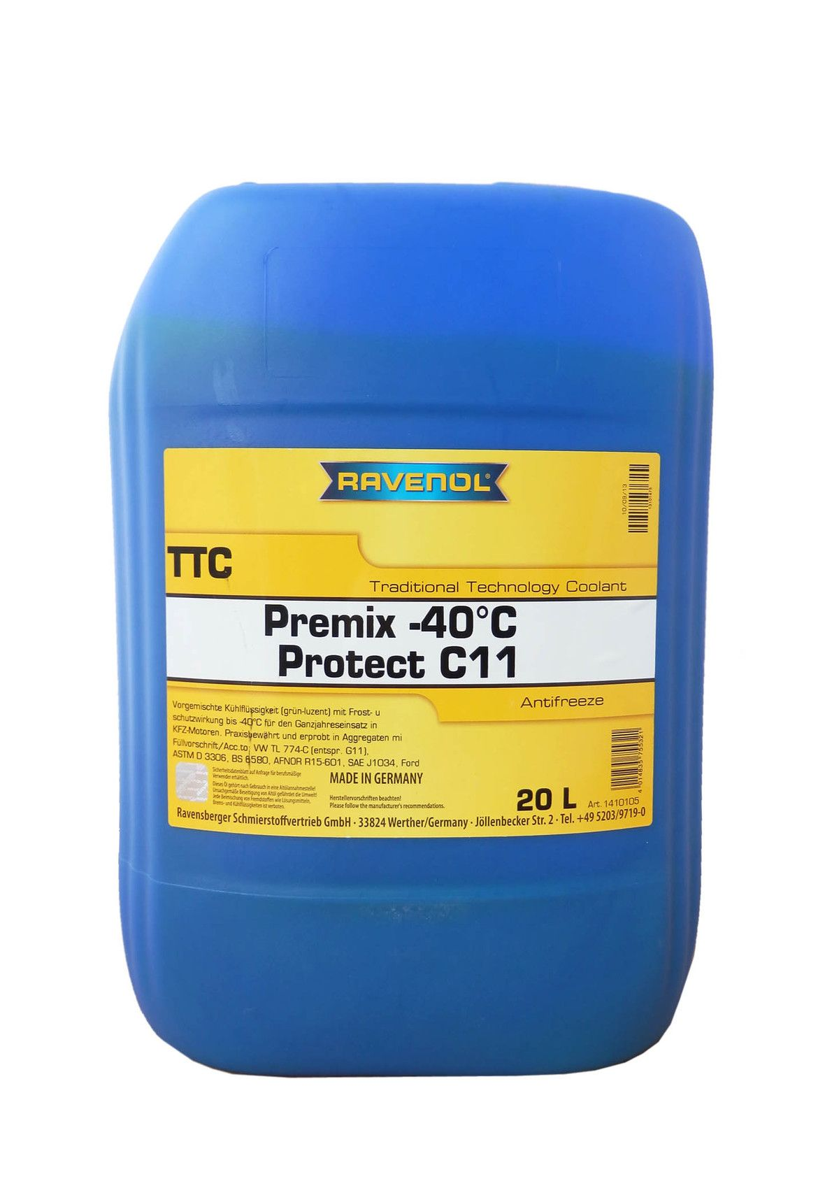 Антифриз Ravenol желтый TTC Traditional Technology Coolant Premix (20 л) от Ravta