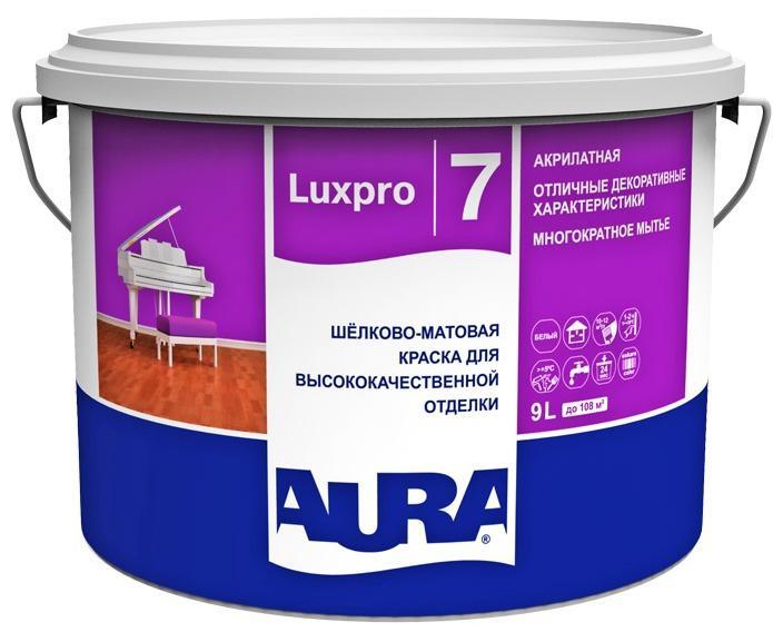 Краска Эскаро Аура Luxpro 7 водная моющаяся 9л база TR от Ravta