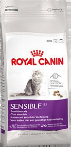 Корм Royal Canin Sensiblе 33 для кошек с чувствительным пищеварением 2кгПовседневные корма<br><br><br>Артикул: 10703<br>Бренд: Royal Canin<br>Вид: Сухие<br>Высота упаковки (мм): 0,35<br>Длина упаковки (мм): 0,19<br>Ширина упаковки (мм): 0,08<br>Вес брутто (кг): 2<br>Страна-изготовитель: Россия<br>Вес упаковки (кг): 2<br>Размер/порода: Все<br>Для кого: Кошки<br>Особая серия: При чувствительном пищеварении