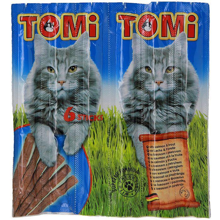 Палочки Tomi для кошек с лососем и форелью, 6шт по 5гр. от Ravta