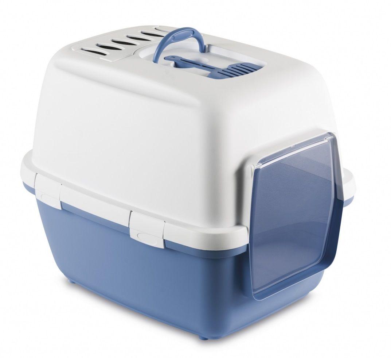 stefanplast Туалет-домик Stefanplast Cathy Comfort с уголным фильтром и совочком, голубой, 58х45х48см 24290.гол