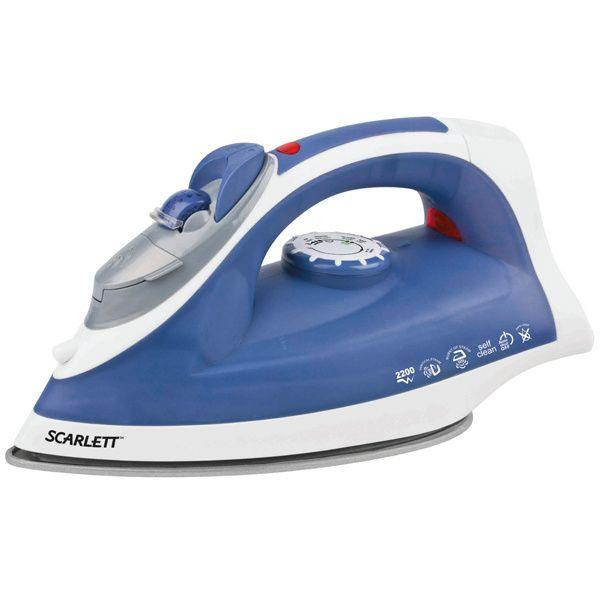 Утюг Scarlett SC-SI30К03Утюги<br><br><br>Артикул: SC-SI30K03R<br>Бренд: Scarlett<br>Вид: утюг<br>Потребляемая мощность (Вт): 2200<br>Гарантия производителя: да<br>Материал подошвы: Керамика<br>Система самоочистки: да<br>Защита от накипи: да<br>Противокапельная система: да<br>Цвет: синий/белый<br>Объем резервуара для воды (л): 0,25<br>Вертикальное отпаривание: да<br>Автоматическое отключение: да<br>Паровой удар: да<br>Функция разбрызгивания: да<br>Индикатор нагрева подошвы: нет<br>Индикатор наличия воды: нет<br>Мерный стакан: да