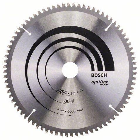 Диск пильный твёрдосплавный по дереву, ДСП BOSCH OPTILINE d254 х 30 мм 80 зубьев (1шт.) коробка от Ravta
