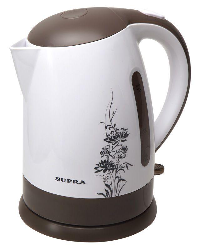 Чайник Supra KES-1807Чайники<br><br><br>Бренд: Supra<br>Вид: чайник<br>Вес (кг): 1<br>Материал: пластик<br>Потребляемая мощность (Вт): 2200<br>Блокировка включения без воды: есть<br>Нагревательный элемент: скрытый<br>Гарантия производителя: да<br>Общий объем (л): 1,8<br>Вес упаковки (кг): 1,225<br>Цвет: белый<br>Указатель уровня воды: да<br>Индикация включения : есть<br>Автоотключение при закипании: есть<br>Вращение на 360 градусов: есть