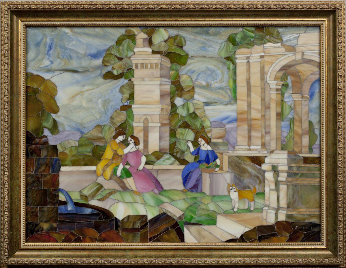 """Мозаика """"Старинный пейзаж"""" ручной работы 55x71 см от Ravta"""
