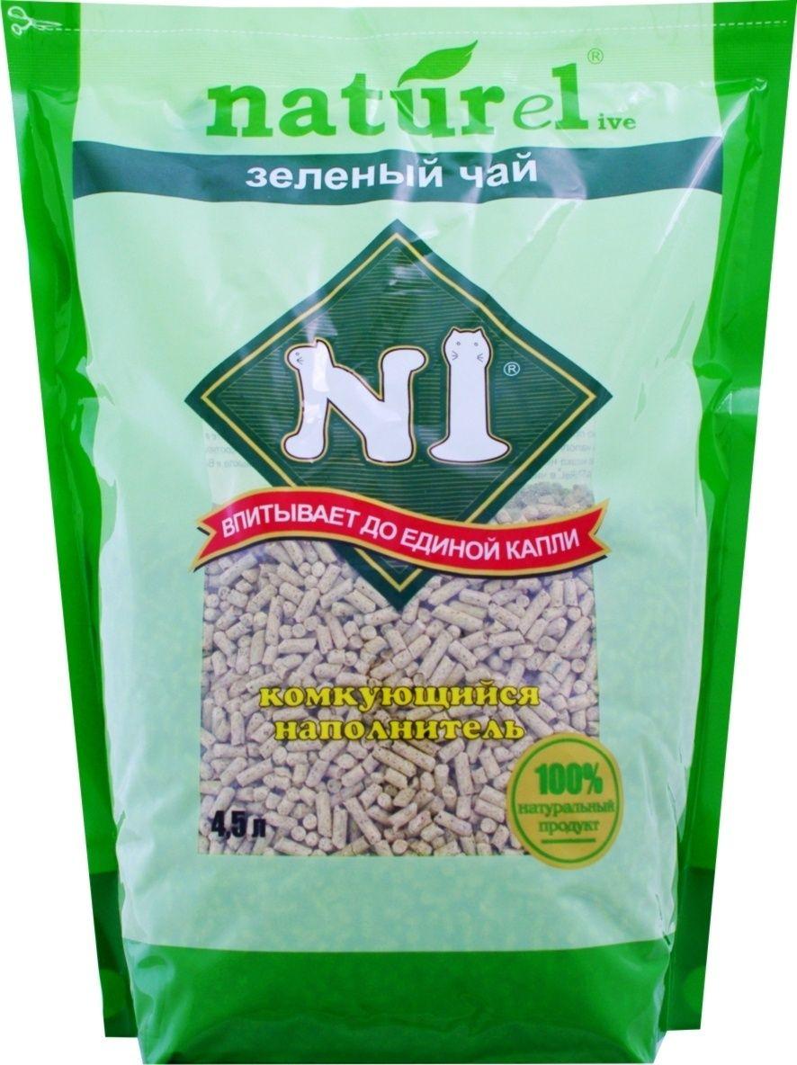 n1 Комкующийся древесный N1 (гималайский кедр) наполнитель Naturel Зеленый чай на 4,5 л 26083