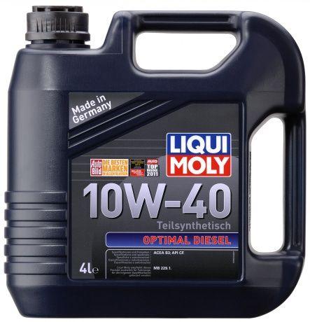 Масло Liqui Moly Optimal Diesel 10W 40 (4л)Liqui Moly<br><br><br>Артикул: 3934<br>Тип масла: Моторное<br>Состав масла: полусинтетическое<br>ACEA: B3-98 Выпуск 2/B402<br>Допуски/cпецификации: MB 229.1<br>Вязкость по SAE: 10W-40<br>API: CF<br>Вид двигателя: 4-х тактный<br>Тип двигателя: дизельный<br>Бренд: Liqui Moly<br>Объем (л): 4<br>Применение масла: легковые автомобили и лёгкие грузовики<br>Вид фасовки: пластиковая канистра<br>Объем (л): 4