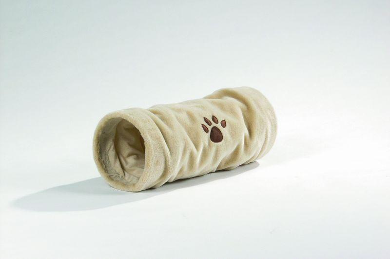 """Туннель для кошек """"Crispy"""" плюшевый бежевый 22*60см от Ravta"""