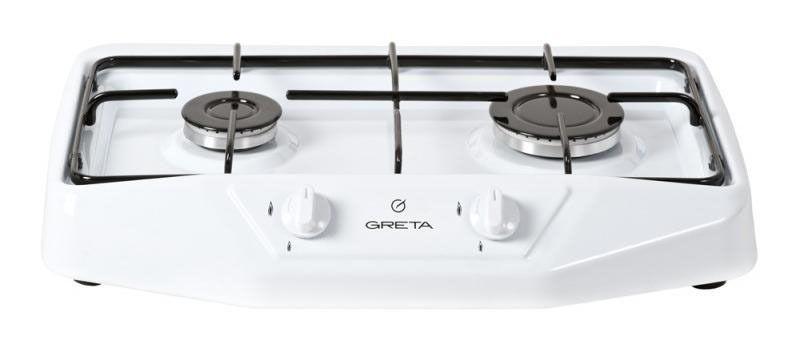 Газовая плита Greta 1103 белая (код 2)Настольные плиты<br><br><br>Бренд: Greta<br>Вид: плита газовая настольная<br>Управление: механическое<br>Рабочая поверхность: эмаль<br>Варочная панель: газовая<br>Количество конфорок: 2<br>Гарантия производителя: да
