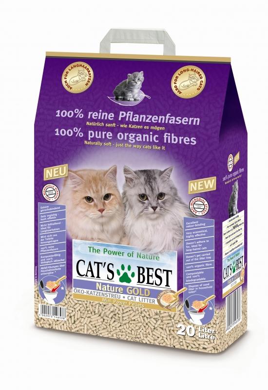 cat's best Cats Best Nature Gold Комкующийся древесный наполнитель для длинношерстных кошек, 20л 23046