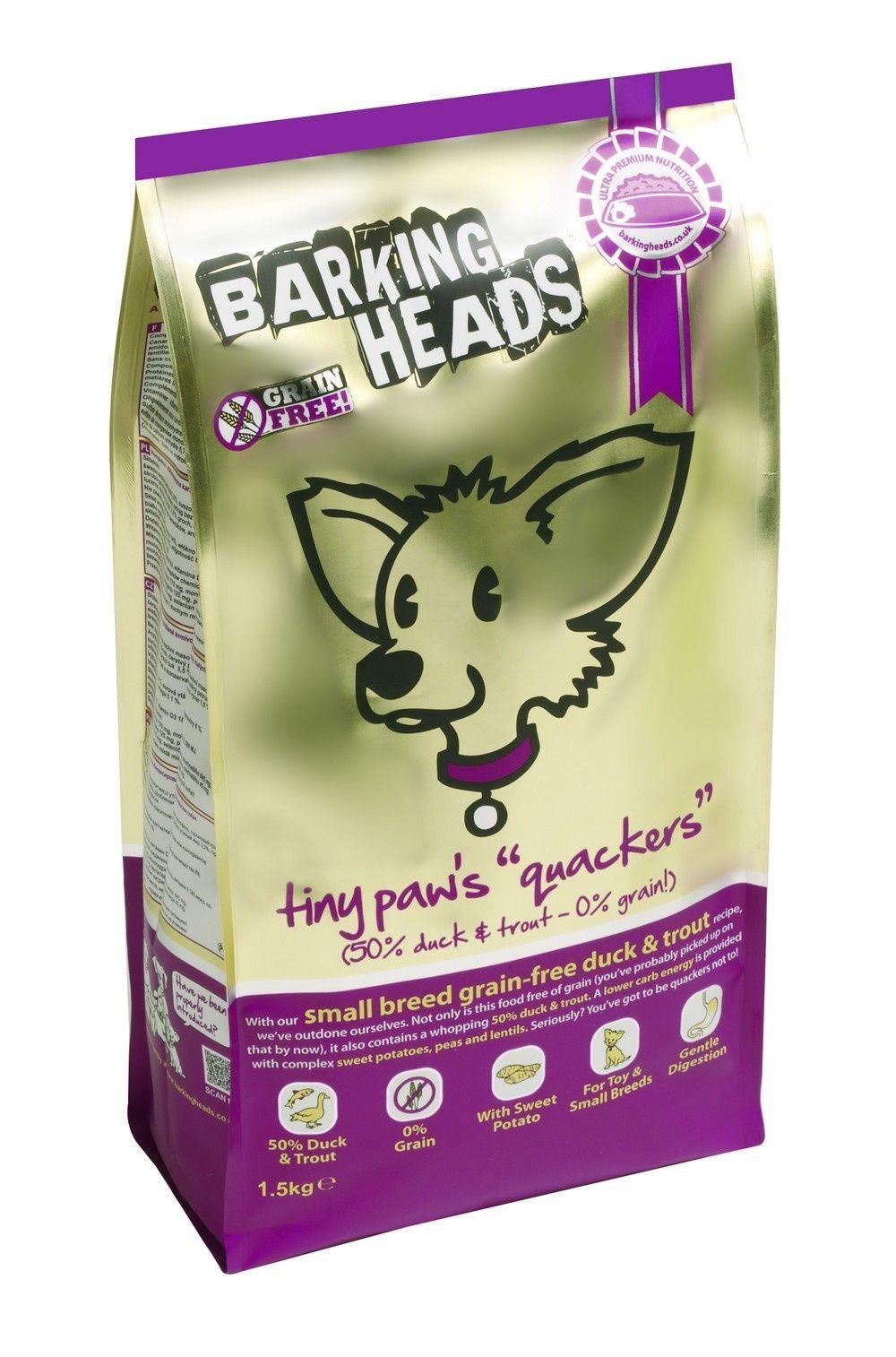Беззерновой корм Barking Heads для Собак Малых пород с Уткой и бататом Кряква для Мелколапого 1,5кПовседневные корма<br><br><br>Артикул: 18143<br>Бренд: Barking Heads<br>Вид: Сухие<br>Высота упаковки (мм): 0,19<br>Длина упаковки (мм): 0,36<br>Ширина упаковки (мм): 0,2<br>Вес брутто (кг): 1,5<br>Страна-изготовитель: Великобритания<br>Вес упаковки (кг): 1,5<br>Размер/порода: Для малых пород<br>Ингредиенты: Утка<br>Для кого: Собаки