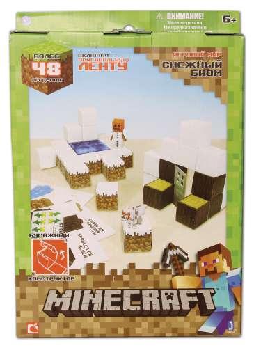 Minecraft констр.из бумаги Снежный биом,48 дет.,наклейки,21х31см,кор. (арт. 16712)Конструкторы<br><br><br>Артикул: 16712<br>Бренд: Minecraft<br>Категории: Minecraft