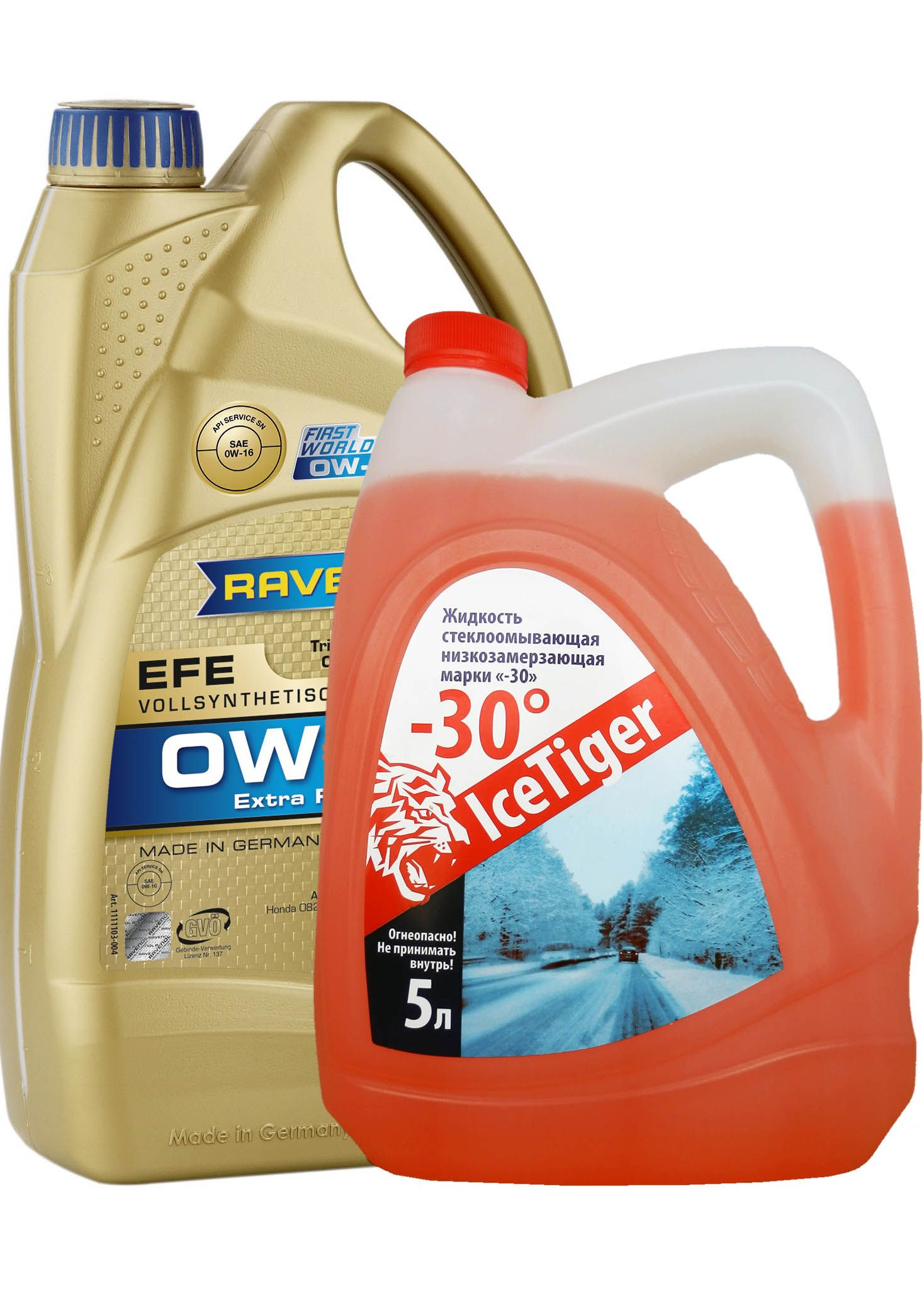 Набор RAVENOL EFE Extra Fuel Economy SAE 0W-16 ( 4л) new + Ice Tiger -30 (Премиум) (5л) от Ravta