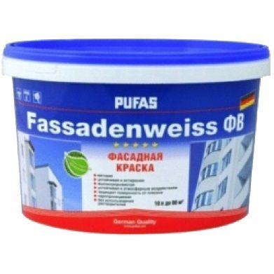 Краска Пуфас Fassadenweiss фасадная белая Основа A мороз. (10л=14,7кг) Россия от Ravta