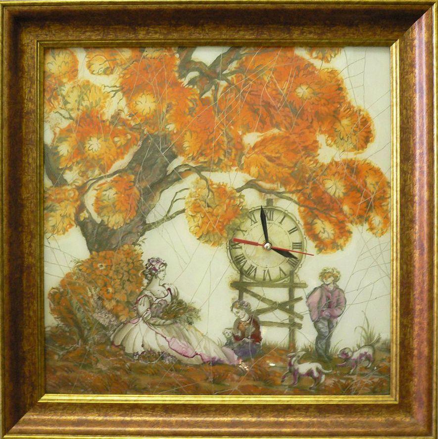 """Часы """"Золотая осень"""" ручной работы 40х40см от Ravta"""