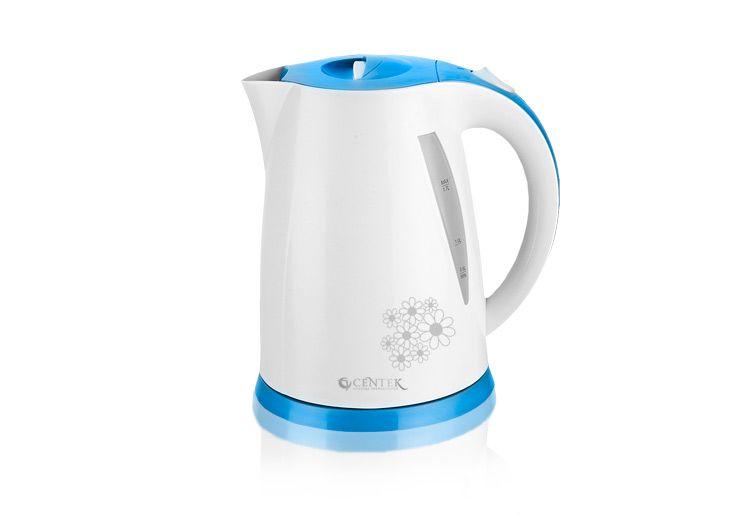 Чайник Centek CT-1006LB, 1,7л., рисунок на корпусе (голубой)Чайники<br><br><br>Артикул: 21353862<br>Бренд: Centek<br>Материал: пластик<br>Потребляемая мощность (Вт): 2200<br>Отсек для сетевого шнура: есть<br>Блокировка включения без воды: есть<br>Нагревательный элемент: скрытый<br>Гарантия производителя: да<br>Общий объем (л): 1,7<br>Цвет: белый<br>Указатель уровня воды: да<br>Индикация включения : есть<br>Автоотключение при закипании: есть<br>Вращение на 360 градусов: есть