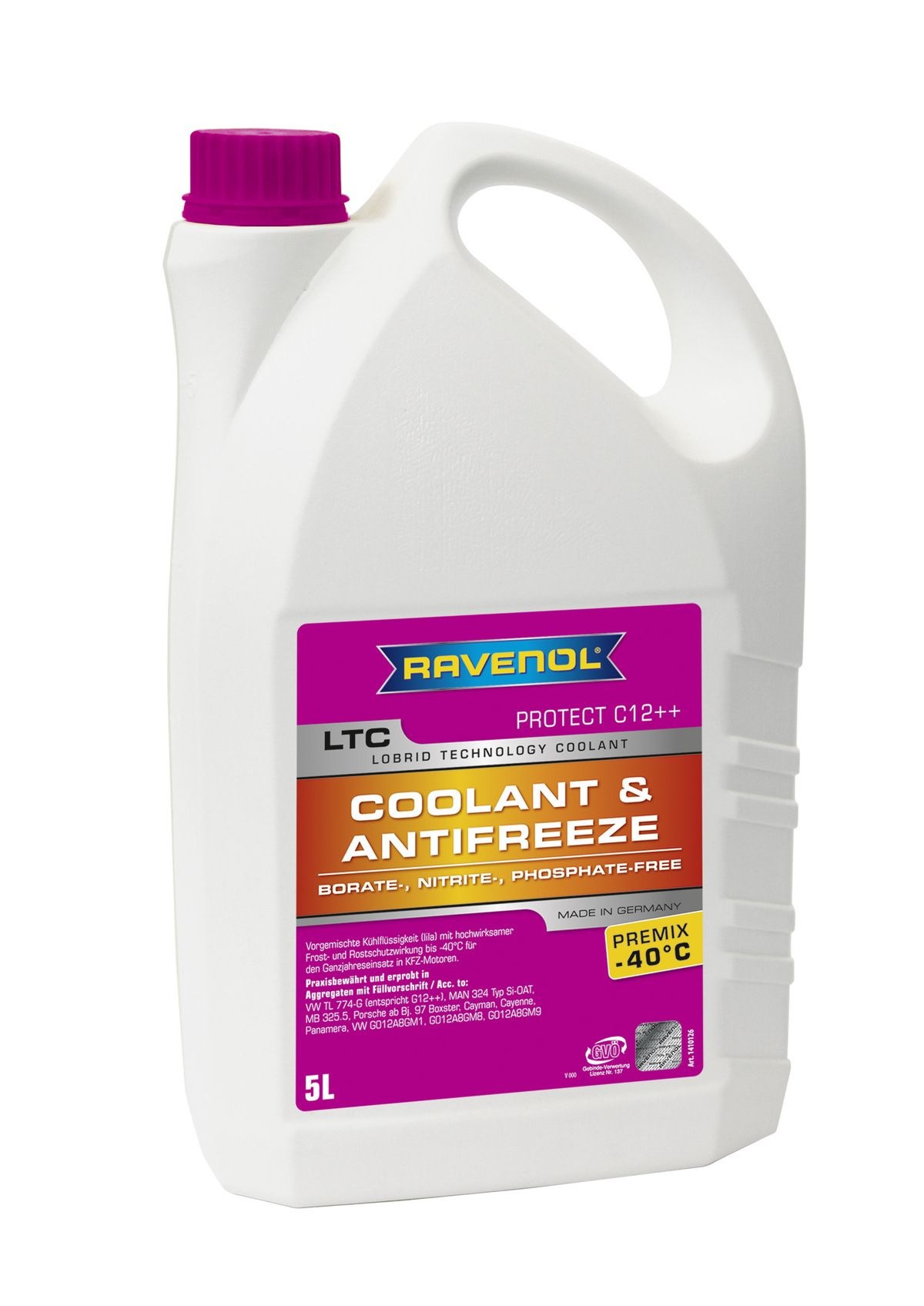 Антифриз Ravenol лиловый LTC Lobrid Technology Coolant Premix -40° C12++ (5 л) от Ravta