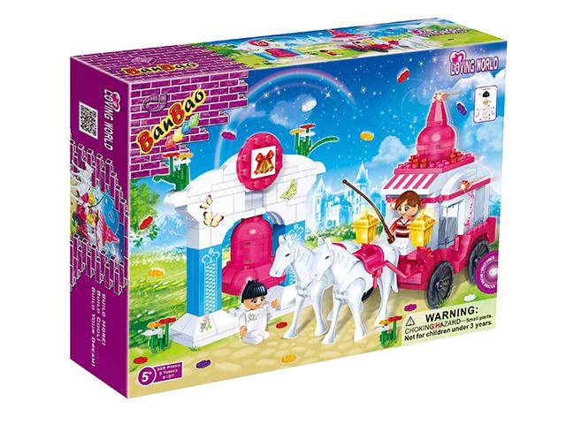 """Конструктор """"Лошадь с каретой"""", 328 деталей, в коробке 33х24х7см (6107) от Ravta"""