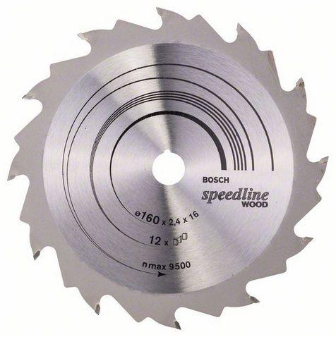 Диск пильный твёрдосплавный по дереву, ДСП BOSCH SPEEDLINE d160 x 16 мм 12 зубьев (1шт.) коробка от Ravta