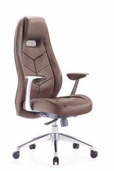 Кресло руководителя Бюрократ _Zen/Brown коричневый кожа крестовина алюминий от Ravta