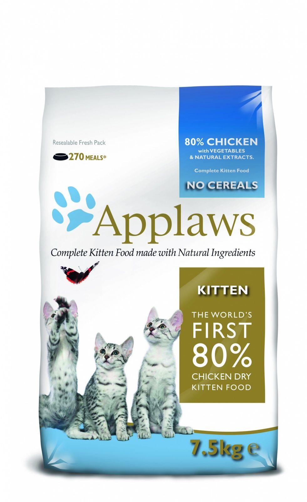 Корм Applaws беззерновой для Котят Курица/Овощи: 80/20% Dry Cat Kitten 7,5кгПовседневные корма<br><br><br>Вес брутто (кг): 7,5<br>Артикул: 24399<br>Бренд: Applaws<br>Вид: Сухие<br>Страна-изготовитель: Великобритания<br>Вес упаковки (кг): 7,5<br>Ингредиенты: Кура<br>Для кого: Кошки