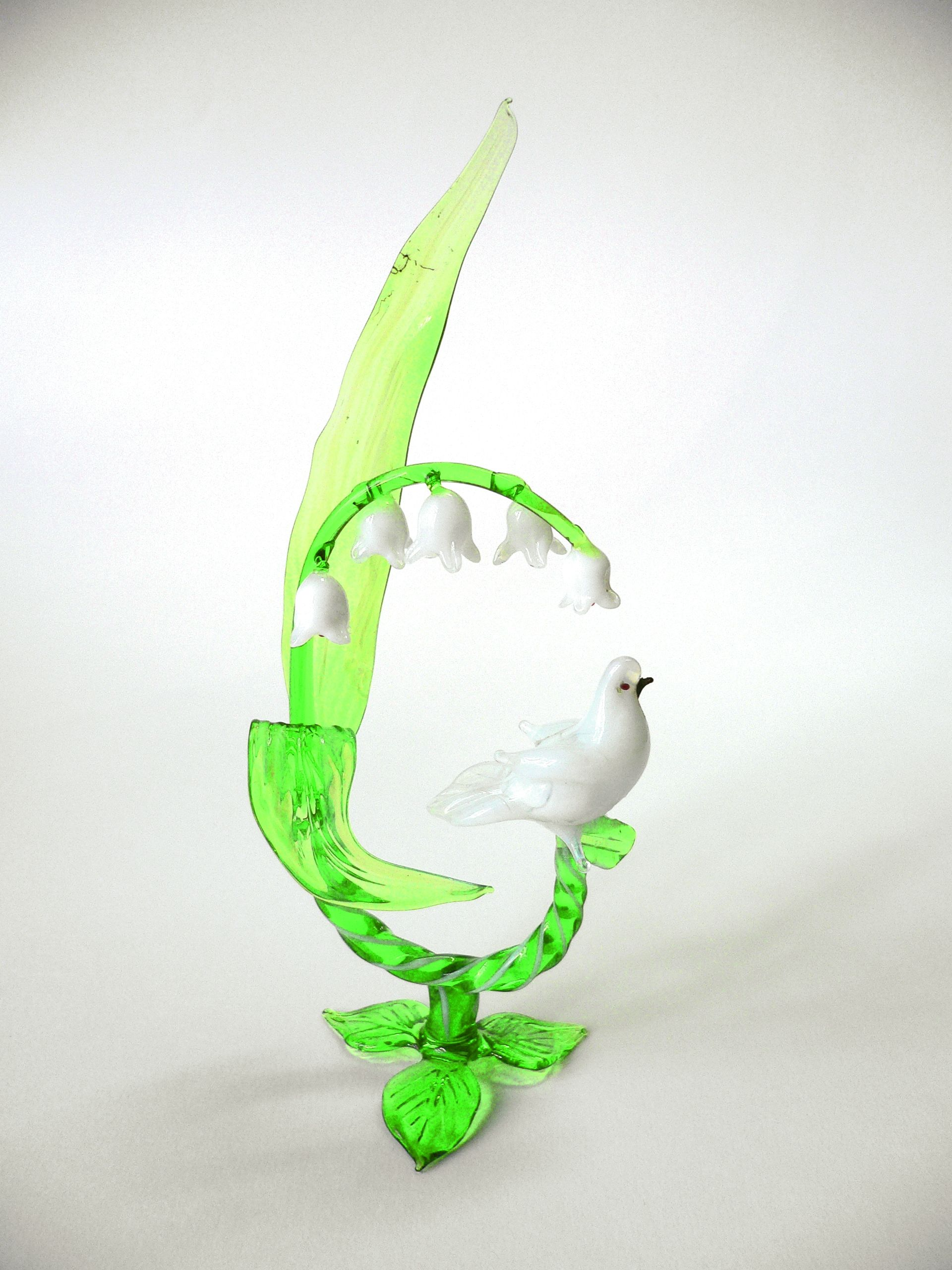 """Композиция """"Ландыш и голубок"""", цветное стекло от Ravta"""