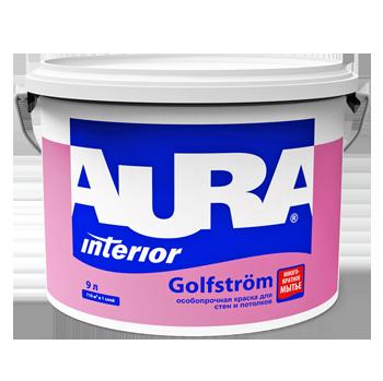 Краска Эскаро Аура Golfstrоm водная моющаяся особопрочная белая матовая 9л база А от Ravta
